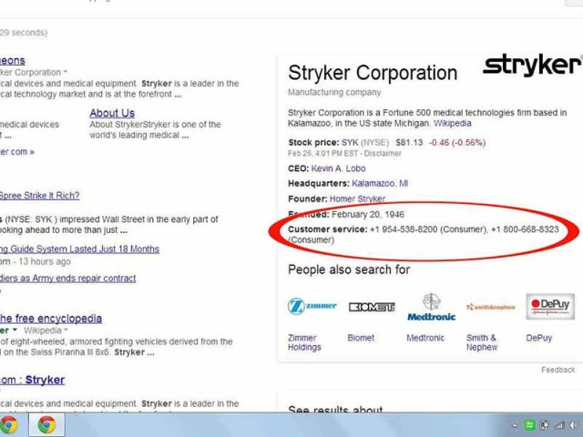 Stryker and Google Knowledge Graph